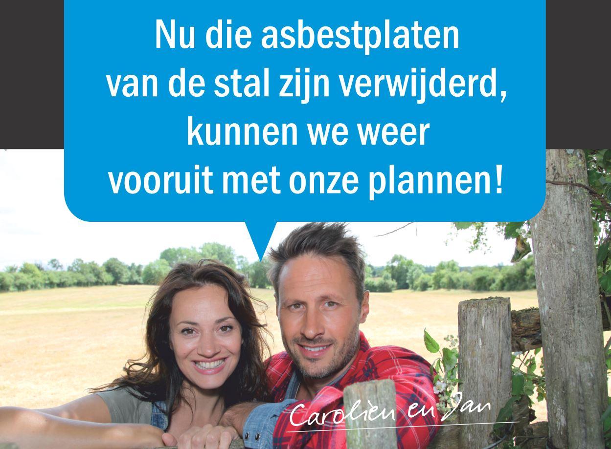 Carolien en Jan kunnen weer vooruit plannen nu de asbestplaten van de stal zijn