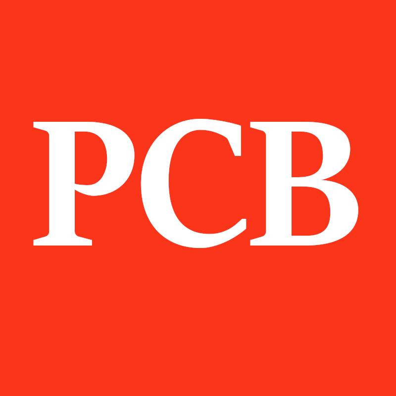 Letters PCB op rood vlak